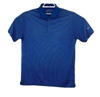 Nike Golf Mens Blue Striped Dri Fit Short Sleeve Polo Shirt Size Large