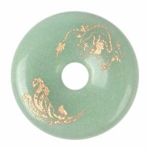 40mm Green aventurine both sides carved dragon phoenix donut disc pendant