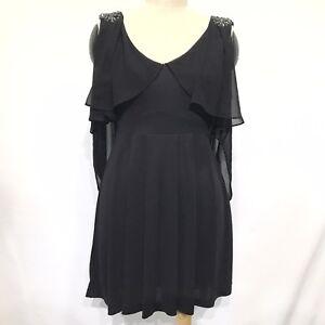 Forever New Size 6 Dress Black Cape Cold Shoulder Beaded Aline knee length