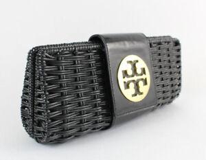 Tory Burch Women's Black Woven Gold Tone Logo Clutch Bag
