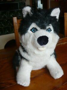 XXL Kuscheltier Husky, Stoff Tier groß, Spieltier, schwarz- weiß, sitzend