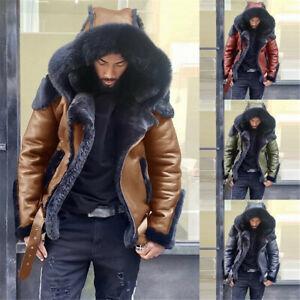 Winter Men's Fur Collar Lining pu Leather Overcoat Zipper Jacket Warm Coat Plus