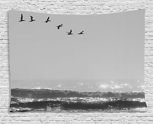 Gray Tapestry Flying Birds on Wavy Sea Print Wall Hanging Decor 80Wx60L Inches