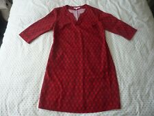 BODEN red LEAF PRINT shift dress Size 16L USED BARELY WORN