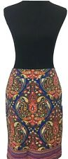 Merona Blue Paisley Pencil Skirt Pockets Sz 6 Beautiful Stretch Extensible
