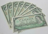 1967 Bank of Canada $1 Banknotes in Sequence of 8. CRISP, UNCIRCULATED, MINT