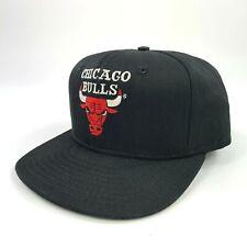 VTG 1996 Chicago Bulls NBA Snapback Hat Plain Logo Jordan Pippen Black Dome USA