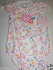 First Moments Infant Baby Girl Bodysuit Short Sleeve Flower Power 6 Months NWT