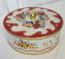 EUC Designed by Daher Long Island NY round button candy tin England Red White