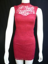 Women Cocktail Dress Red Flowers Lace Classic Fashion Short Sleeveless Sexy M L