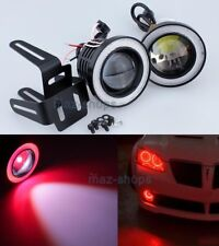 """Red 2.5"""" Projector LED Fog Daytime Running Light w/ COB Halo Angel Eyes Rings P"""
