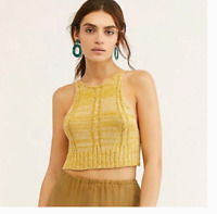 Free People Women's Bohemian Yellow Bombshell Knit Crop Tank Top Size Large **02