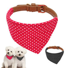 Bandana-Style Dog Collars Leather Neckerchief Adjustable Neck Scarf for Pets Cat