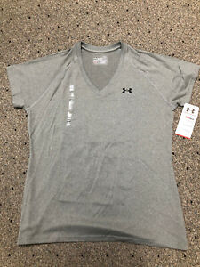 Womens Large Light Gray Semi Fitted Under Armour Heat Gear V-Neck SS T Shirt NWT