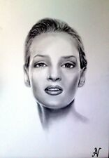 Uma Thurman - ritratto portrait grafite e carboncino cm. 33 x 48