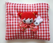 Red Gingham Dolly Makeup Bag Vanity Case Purse Handmade Gothic Lolita Kawaii