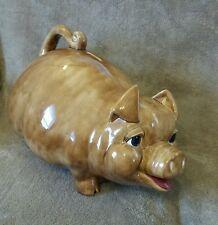 "New listing Vintage Piggy Coin Money Bank - Large 18"" - Ceramic Golden Brown - Happy - Euc"