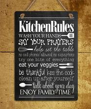 In metallo da appendere segno gesso Stile Cucina regole umorismo preventivo MURO PORTA PLACCA regalo