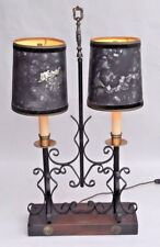 Vintage Wrought Iron Bouillotte 2-Light Table Lamp With Clip On Shades