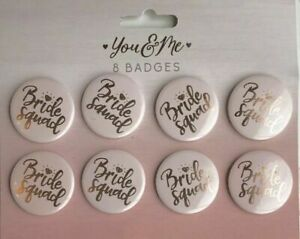8x Bride Squad  Hen Party Badges - Pink Hen Do Badges  Bridal Shower Accessories