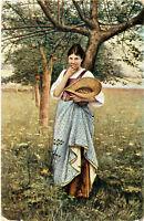 Künstlerkarte Eva am Apfelbaum von M.Nonnenbruch