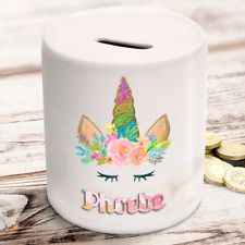 Personalised kids childrens money box unicorn watercolour - gift present idea