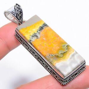 "Bumble Bee Jasper Gemstone Handmade Vintage Silver Jewelry Pendant 2.6"" RP1590"