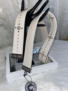 NWT Brighton Pretty Glam Crossbody White Leather Silver & Crystal Flat Strap $70