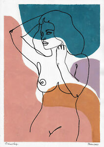 original painting A3 615DO art samovar modern ink and Gouache female nude