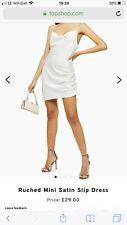 Topshop White Ruched Satin Mini Slip Dress