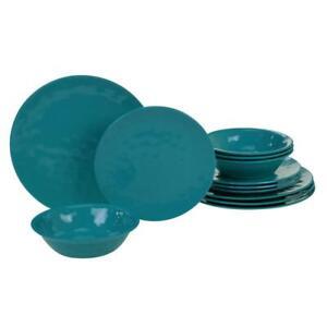 Melamine Dinnerware Set Bowl Round Dining Dinner Salad Plate 12 Piece Teal Green