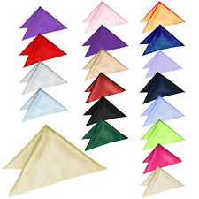 New Plain Satin Mens Hanky Handkerchief Pocket Square 23 Colours Italian Square
