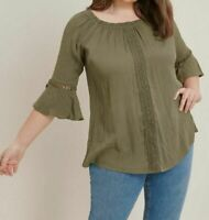 Evans ladies blouse top plus size 14-28 khaki bardot lace detail on/off shoulder