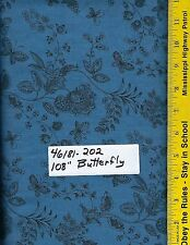 "46181-202, 108"" EXTRA WIDE QUILT BACKING BTY: OVERTONE BUTTERFLY MEDIUM BLUE"