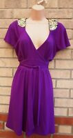 DOROTHY PERKINS PURPLE GOLD SEQUIN SHOULDERS BELTED A LINE PARTY DRESS 10 S
