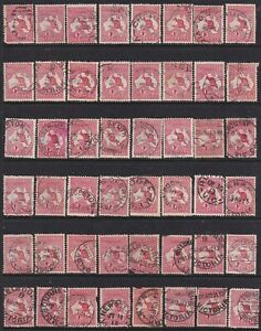 AUSTRALIA ROOS 1d REDS ON PAGE 48 UNITS ALL WITH CLEAR DATES USED
