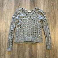 Abercrombie & Fitch Womens Small Wool Blend V Neck Cable Knit Sweater Gray