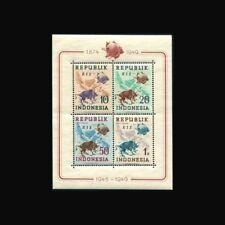 Indonesia, Sc #65b, Perf, RIS ovpt, MNH, 1949, S/S, UPU Centenary, FAUNA, 231