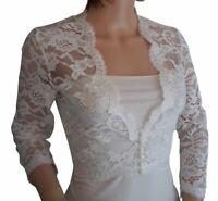 Plus Size Wedding Boleros Lace Bridal Jackets White Ivory V Neck 3/4 Sleeve 2019