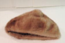 "Genuine mink fur hat vintage cap Opening 10 Inch Inside Lined 8"" Top To Bottom"