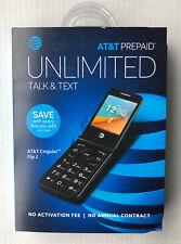 At&T Cingular Flip 2 Prepaid Cell Phone Unlimited Talk Text 4Gb Gray