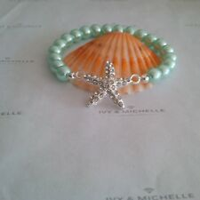 Glass Pearl Aqua Beaded Bracelet  With Silver Tone Starfish Connector