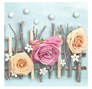 Floral Napkins for Decoupage Paper 3 Rose  Flowers Serviettes Lunch 33cm 3PLY 20