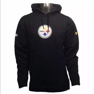 Mens Large Pittsburgh Steelers Under Armour Combine Fleece Pullover Hoodie