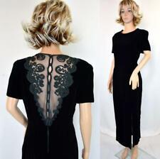 VTG Maggie London Dark Green Velvet Sheer Mesh Net Back Cocktail Evening Dress
