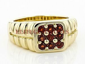 Natürlich Granat Edelstein Mit Vergoldet 925 Sterlingsilber Herren Ring #2188