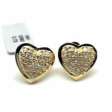 18k Yellow Gold Natural Diamond Heart Stud Earrings