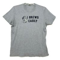 A&F I Brews Easily MUSCLE T-Shirt Mens Sz XXL 2XL Gray Short Sleeve Cotton Crew