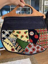 Vintage Needlepoint Teacher Personalized Linda Wood Handled Bermuda Bag Purse Lg