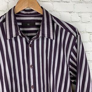 Men's Zegna (16/41 - 36, XL) Gray/Purple Striped Cotton Blend Stretch Shirt